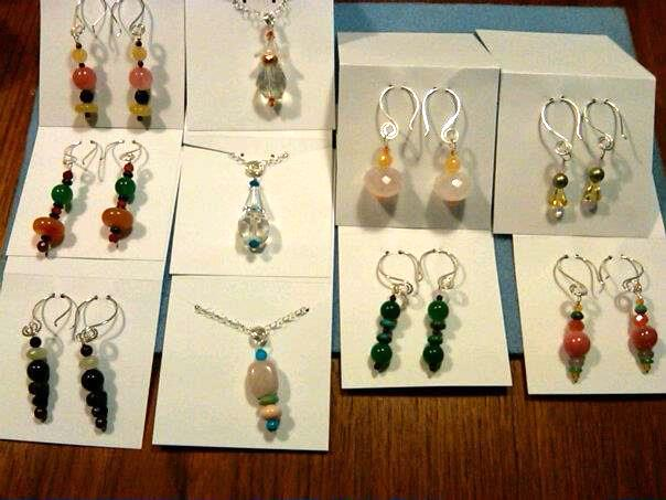 Easy wire and gemstone earrings
