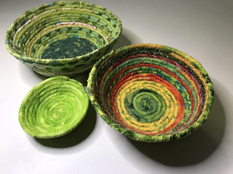 Green fabric baskets