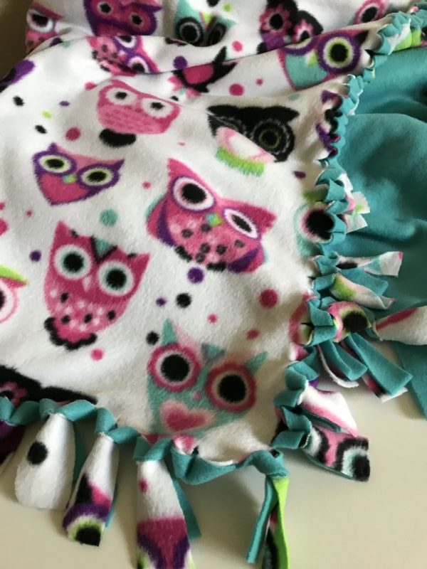 Double Fleece Blanket is all tied off and ready to give as a gift