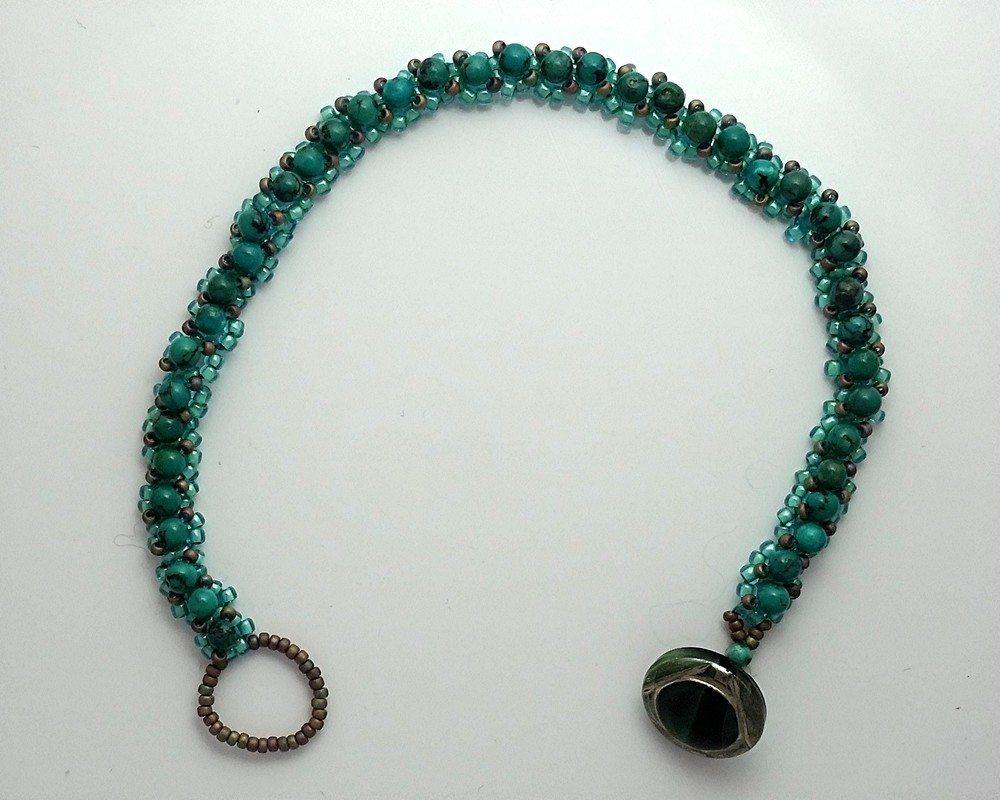 Turquoise Embellished Right angle weave bracelet