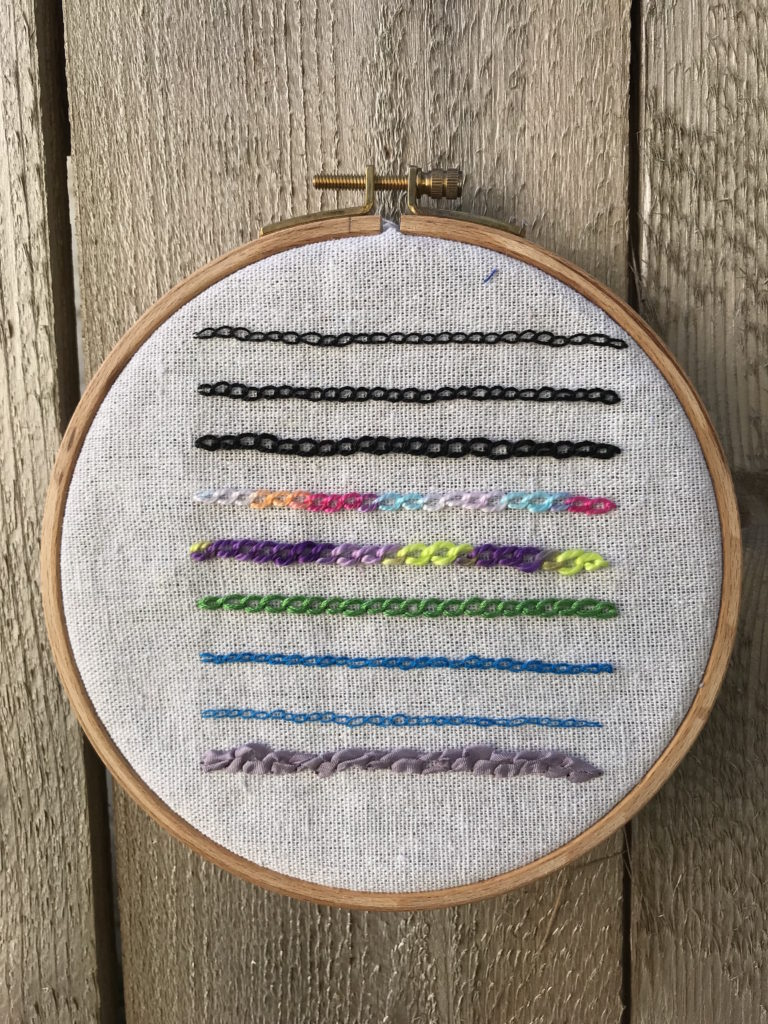 Chain Stitch Embroidery Stitch sampler with many threads