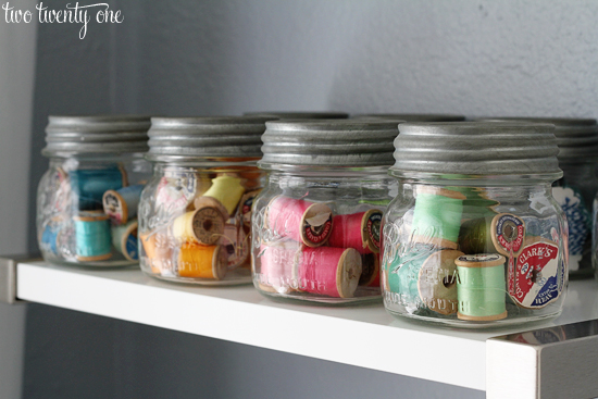 Mason Jar Thread Storage