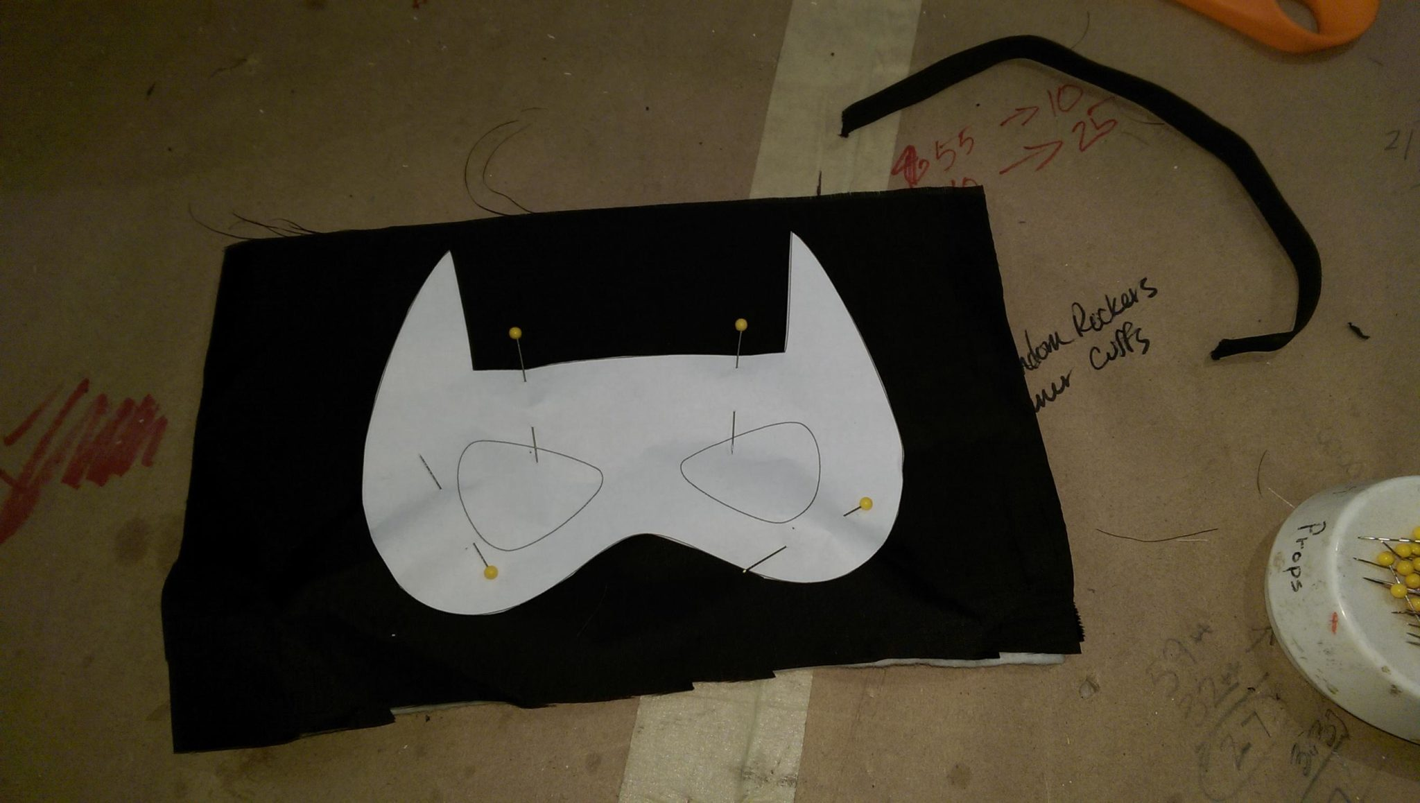 Pinning the pattern for the batman mask