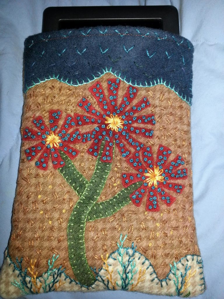 Finished Embroidered Wool eReader Cover