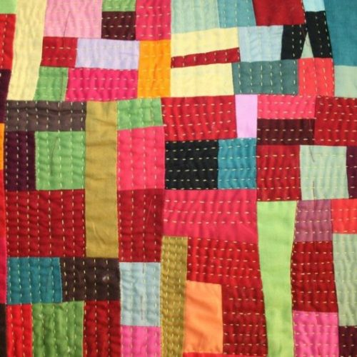 hand stitching on the quilt