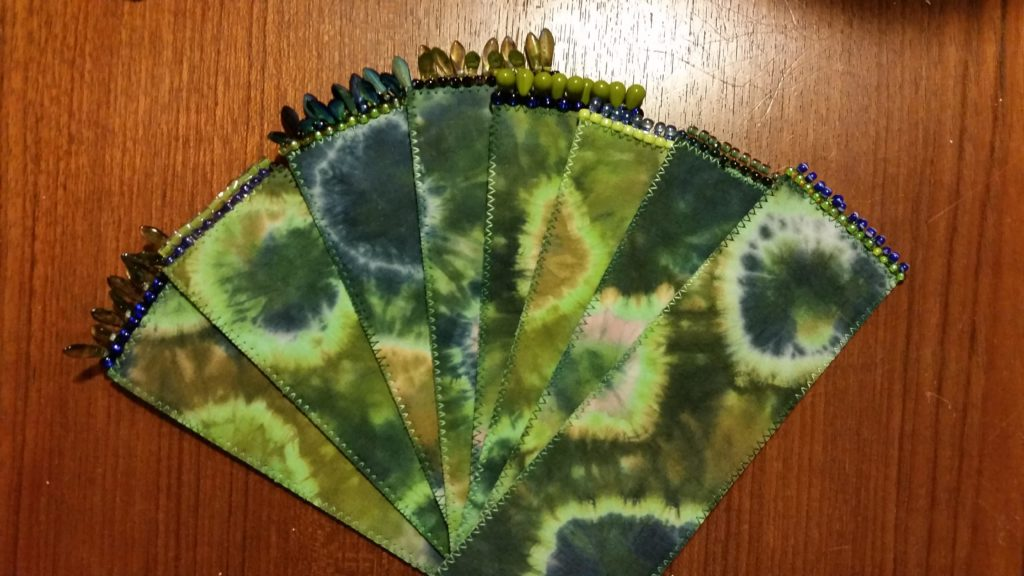 Seahawk colored bookmarks from marbled fabrics