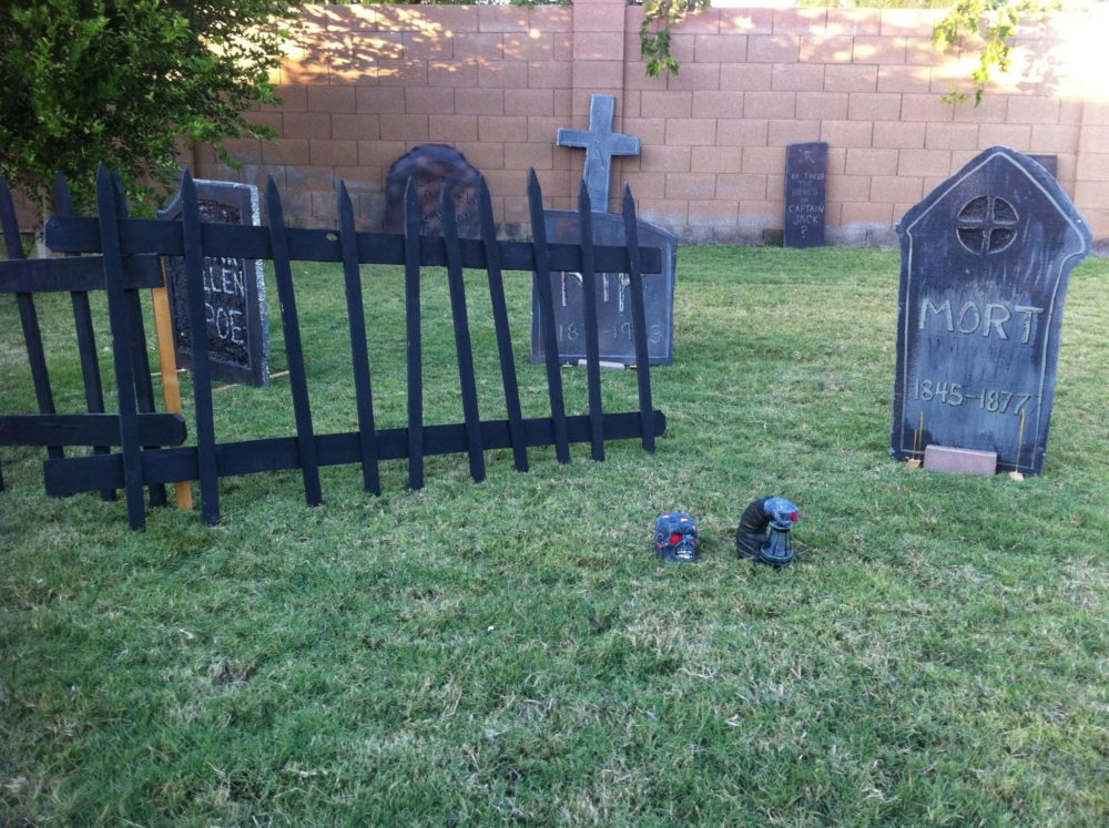 Halloween graveyard fence and headstones