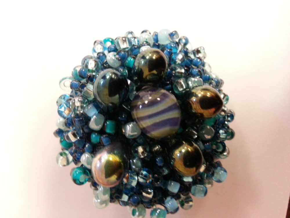blue beaded button