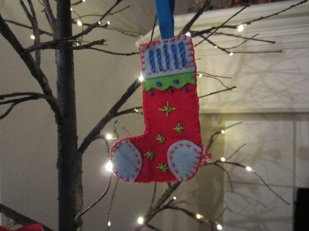 Finished stocking retro ornaments