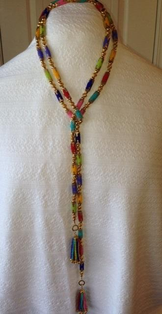 multi-color Bead tube necklace