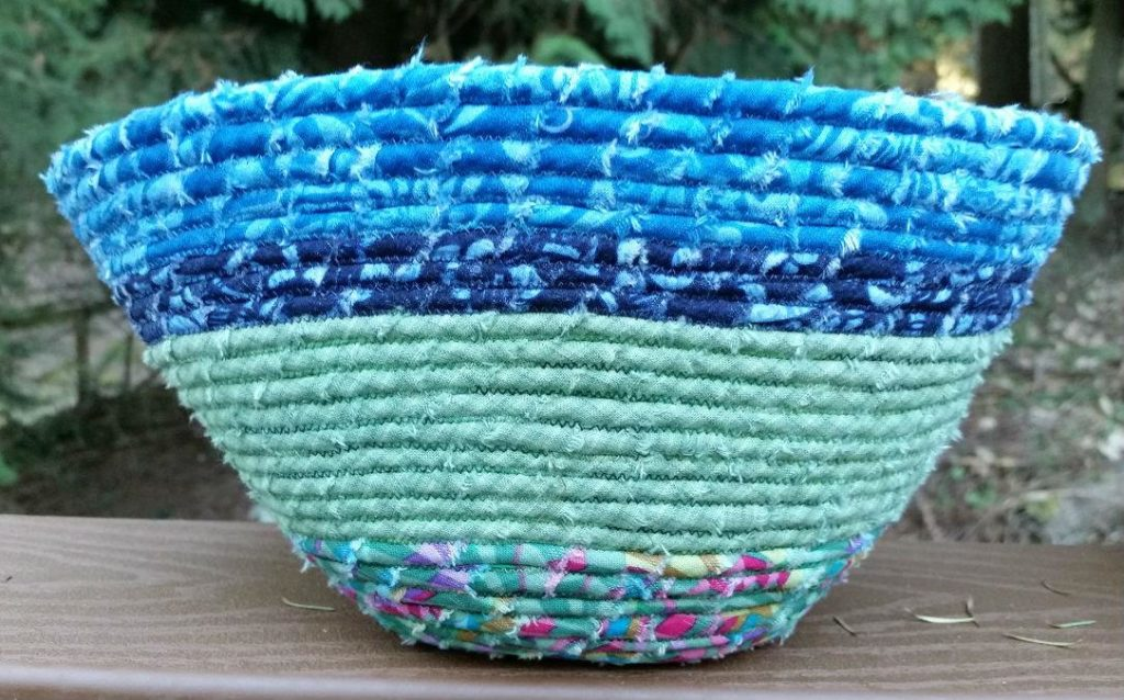 Close up of a fabric coil bowl