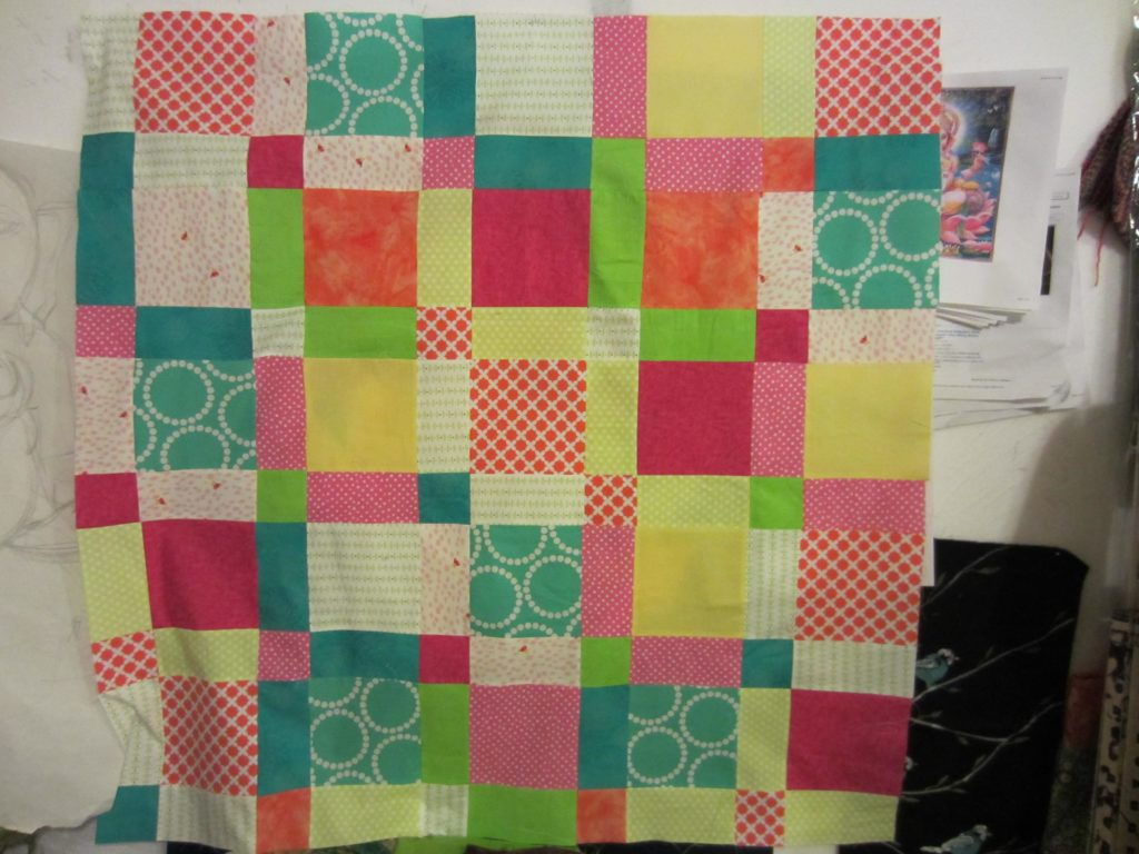The finished disappearing nine patch quilt