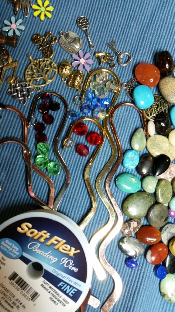 Gathering supplies to make beaded bookmarks