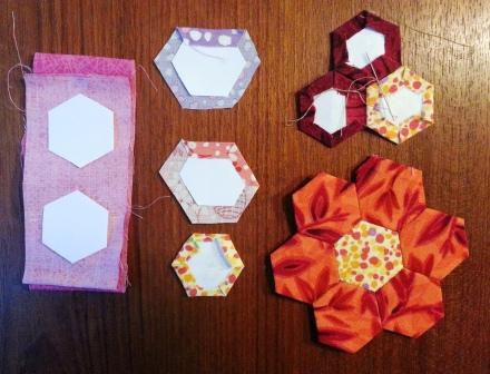 Supplies needed for English Paper Piecing Hexagon Flower Garden Table Topper