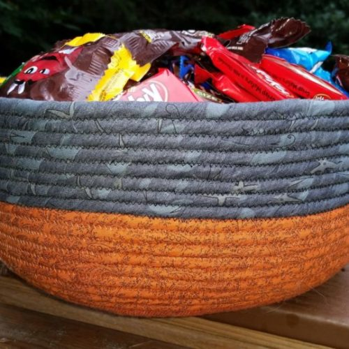 Finished fabric trick or treat bowl