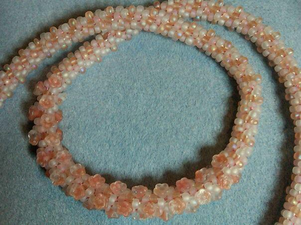 Peaches and Cream Flower Kumihimo Necklace