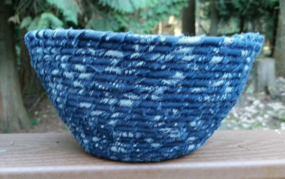 Close up of blue fabric coil bowl