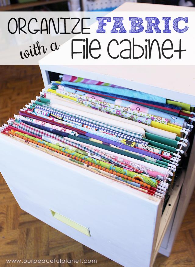 Our Peaceful Planet refurbished a file cabinet to organize fabric