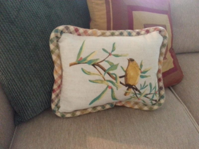 Finished decorator pillow on my couch