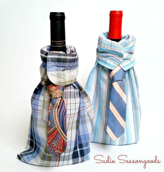 Wine gift bags made from old men's shirts
