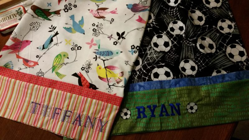 Finished embroidered pillowcases