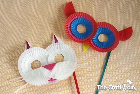 Owl masks from cupcake papers