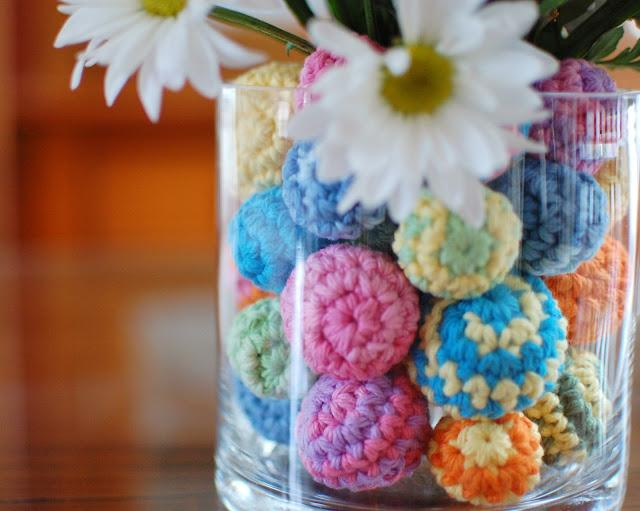 Crocheted balls in a vase