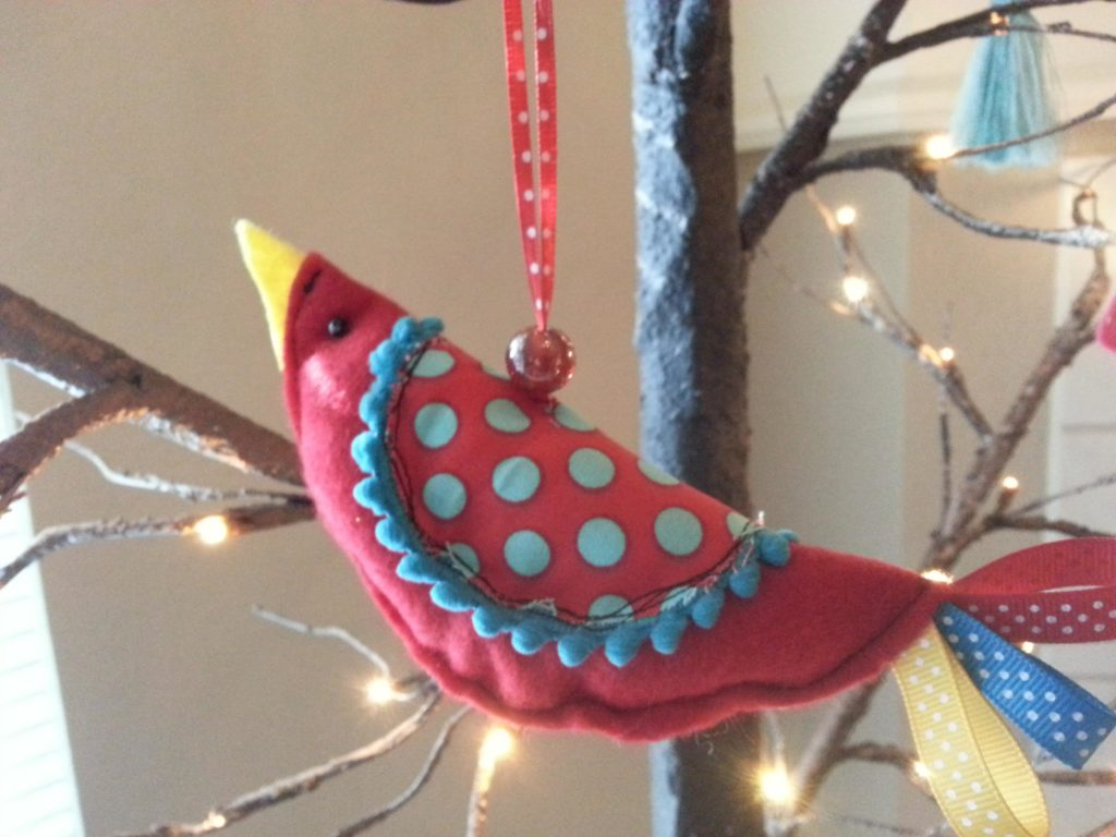 Polka Dot Pom Pom Bird Ornament