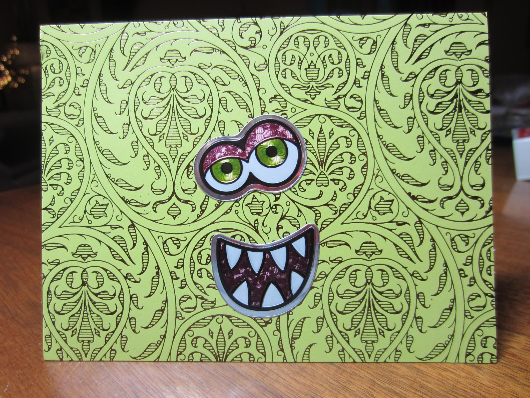 Ghoulish Halloween card – loved these stickers with different eyes and mouths!