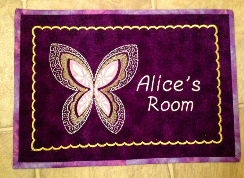 Embroidered name for a child's room