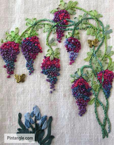 French knot grapes on an embroidered piece