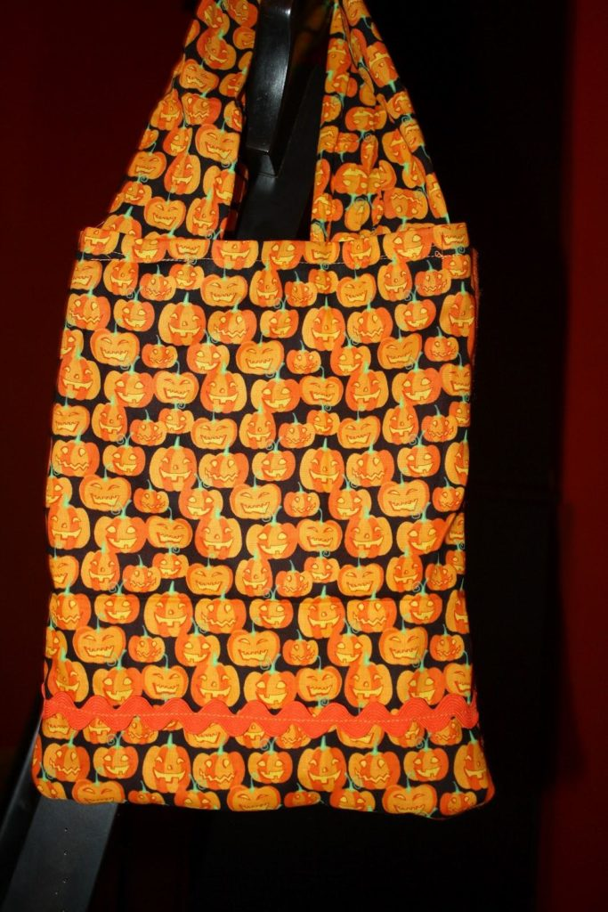 Trick or treat bag made from Halloween novelty fabric