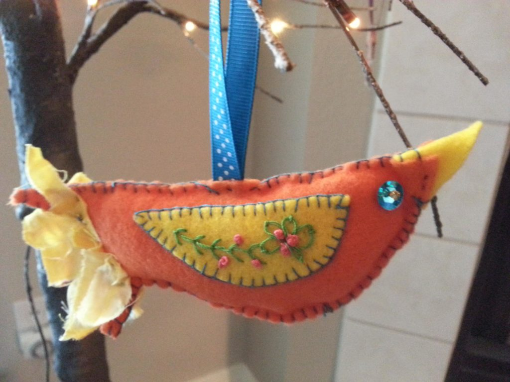 Embroidered Bird Ornaments