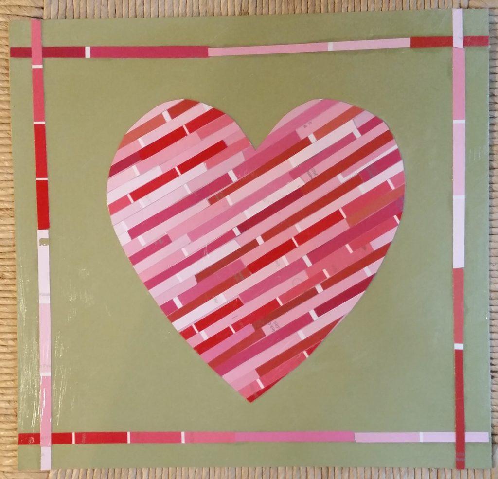 Paint chip heart Valentine's day decoration