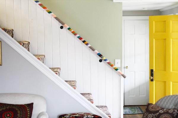 Yarn Bombed stair rail