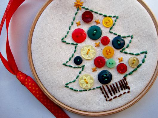 Button embroidery treen