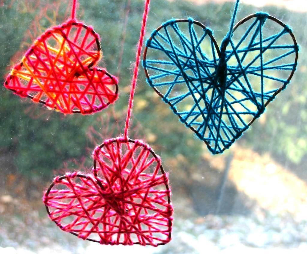 Yarn hearts from Family Chic