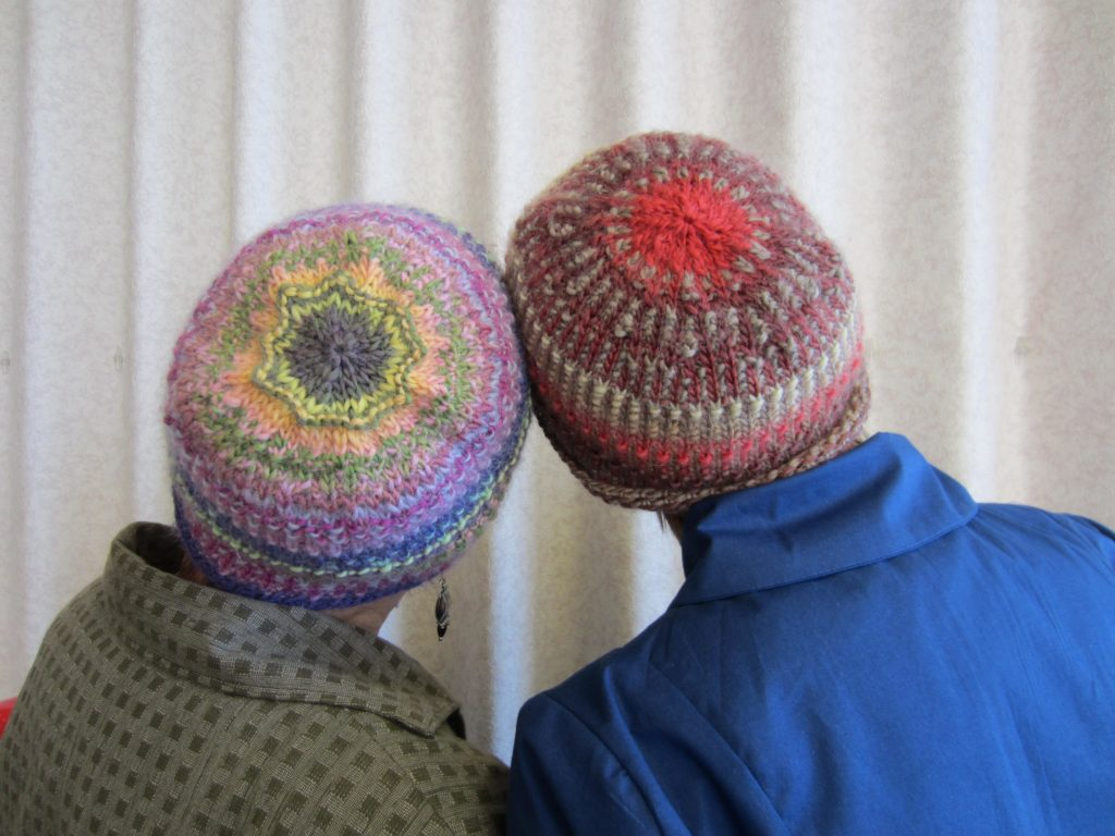 The backs of the hats