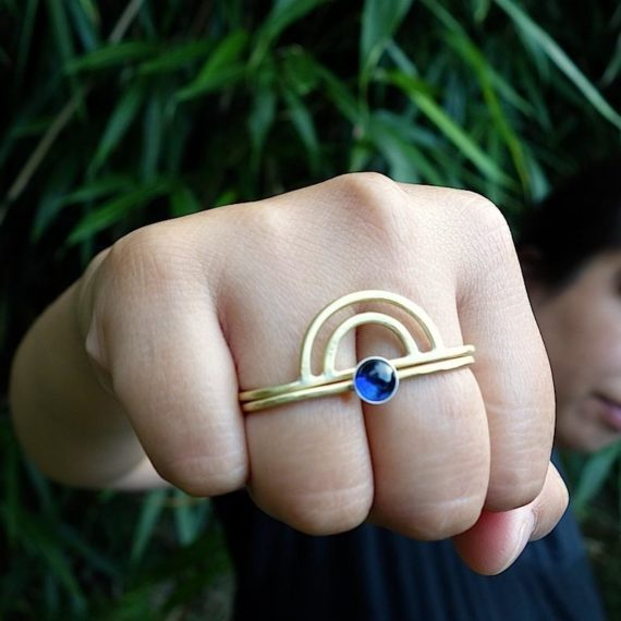 Double finger ring from Knuckle Kiss jewelry