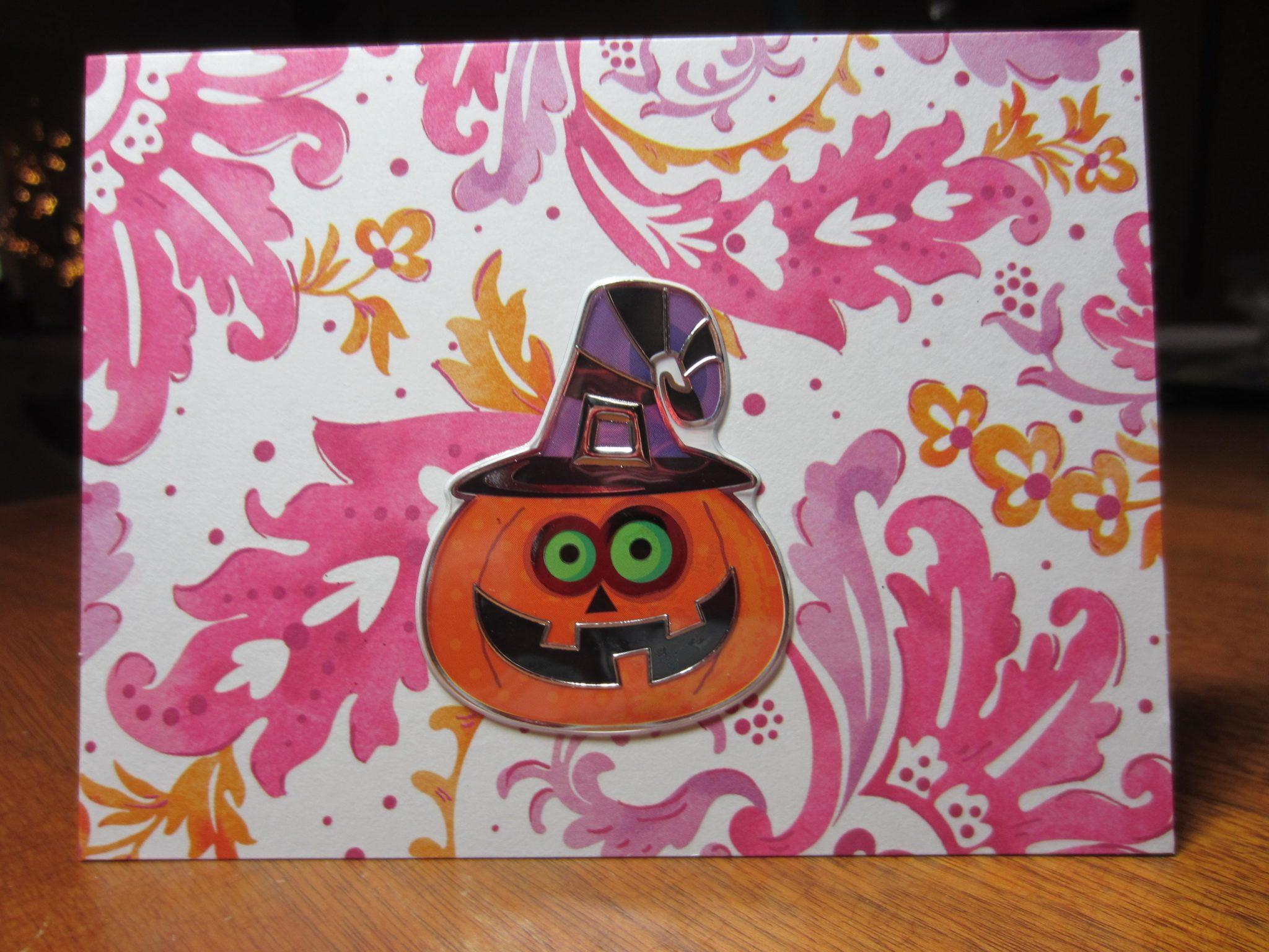 Happy pumpkin Halloween card, with a silly jack-o-lantern sticker!