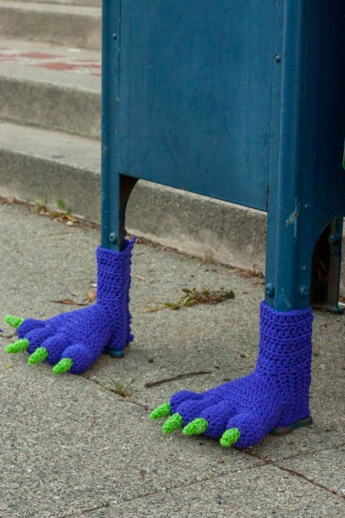 Monster feet yarn bombing