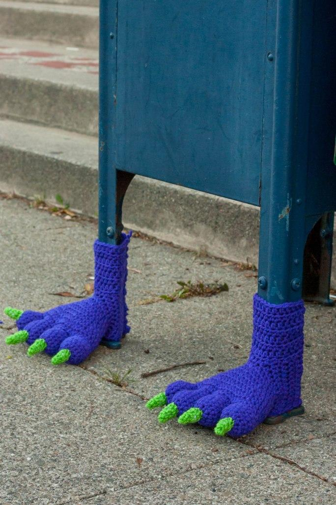 Monster feet yarn bombing