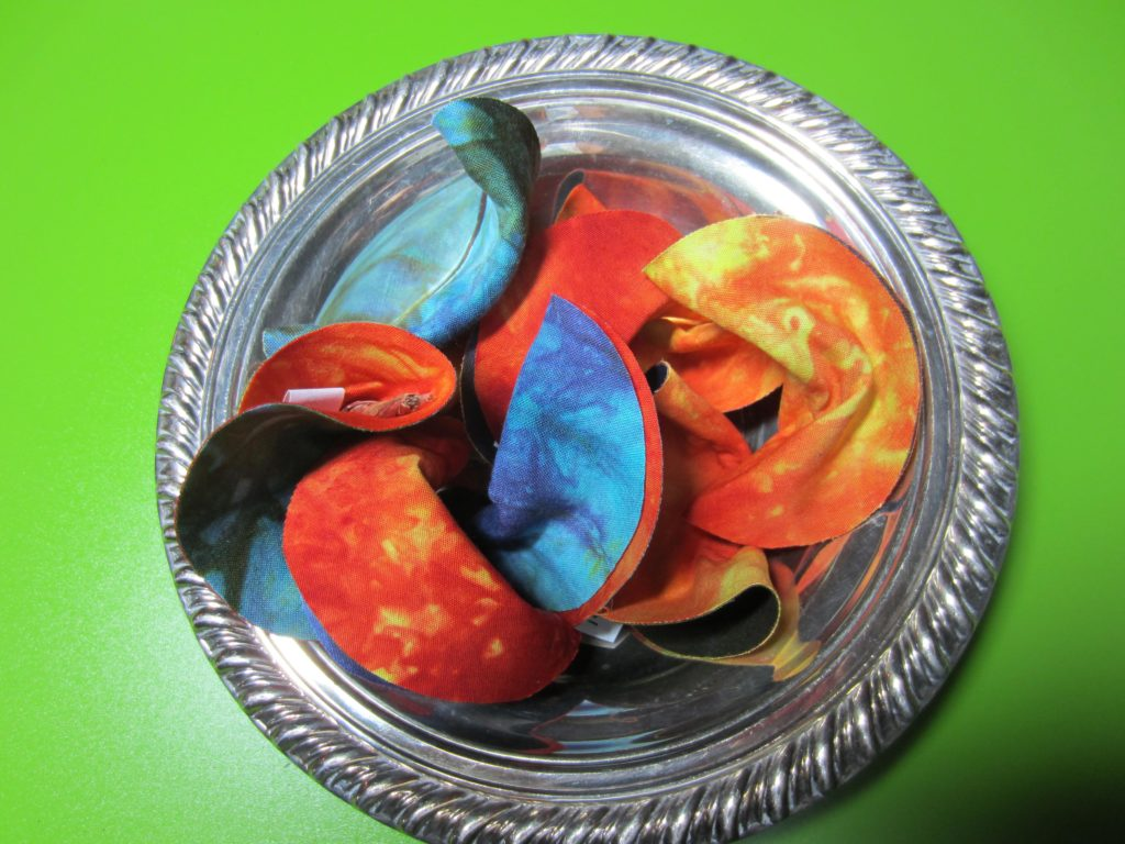 Finished bowl full of Fabric Fortune Cookies
