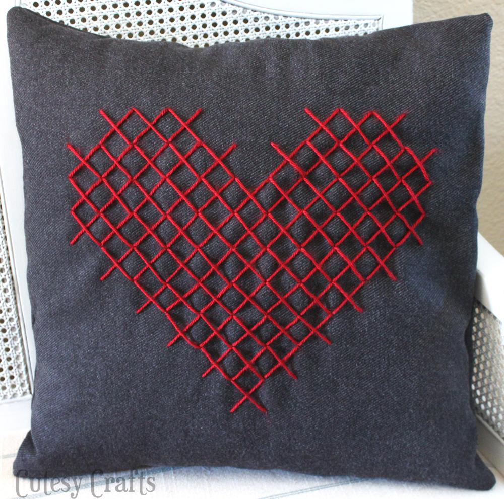 Cross stitch heart pillow