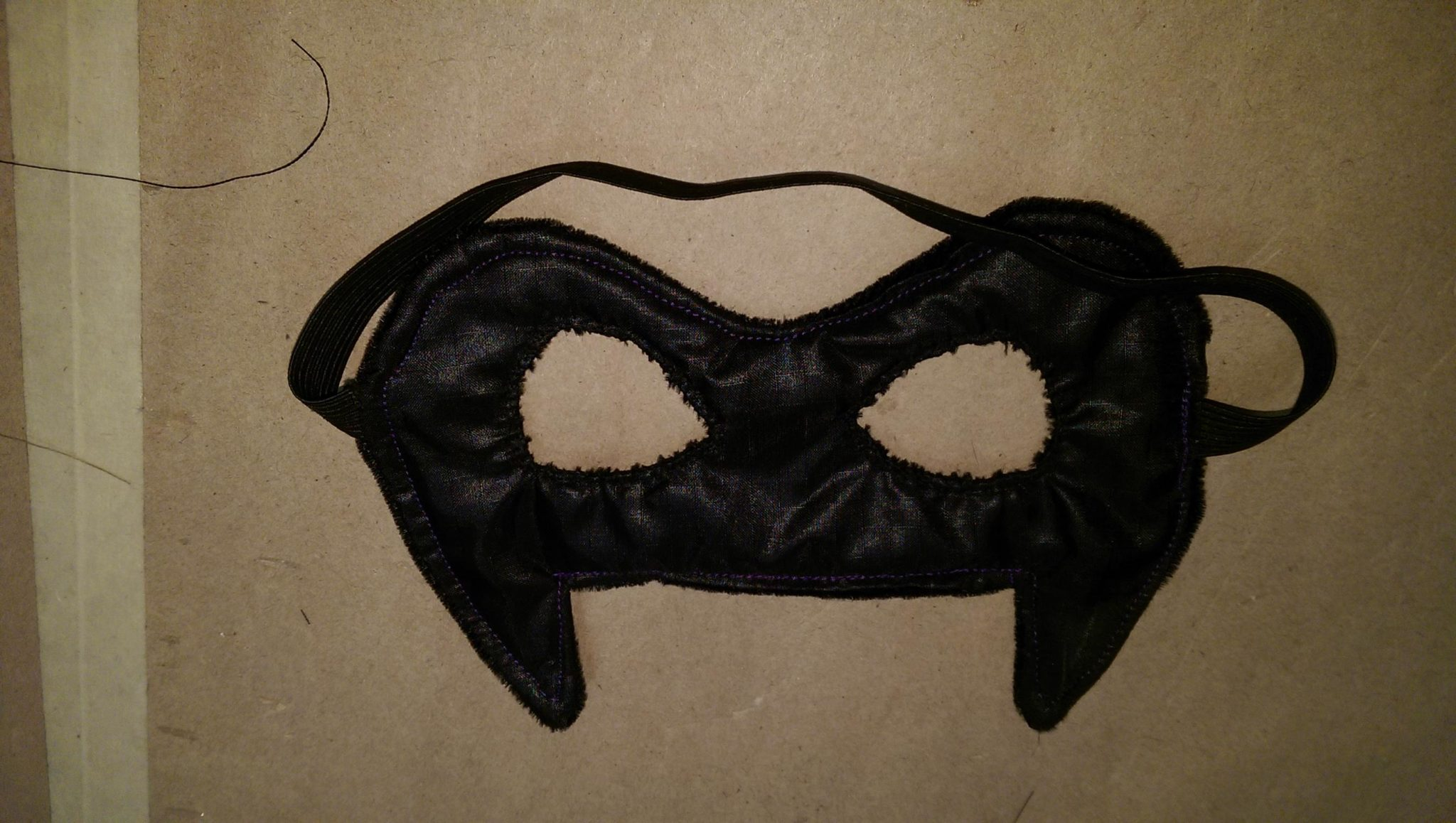 Batman mask with the eyes whipstitched