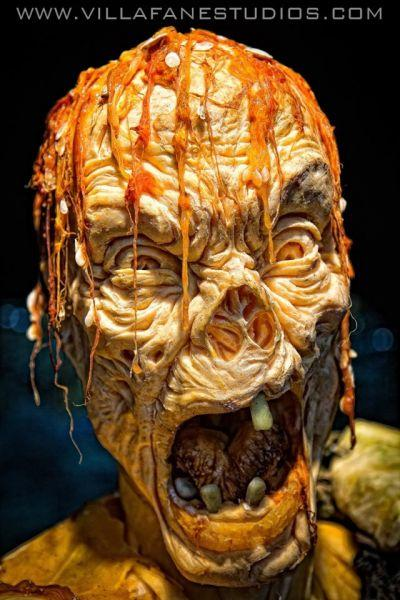 Ray Villafane, master monster pumpkin carver and his zombie pumpkin