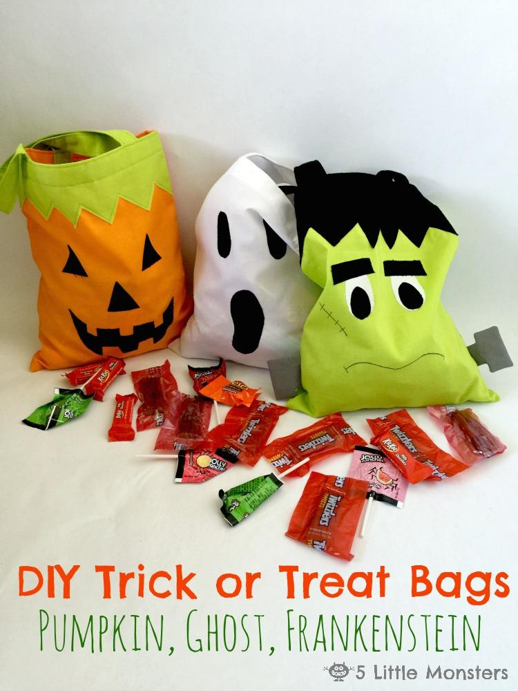 Pumpkin, ghost and monster bags
