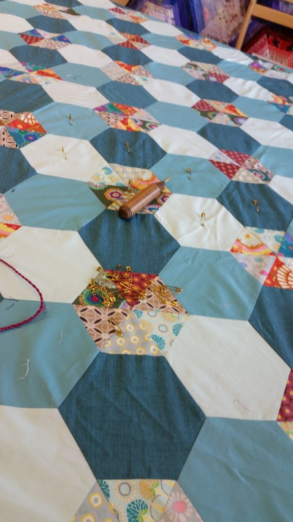 Scrappy Hexagon quilt pinning