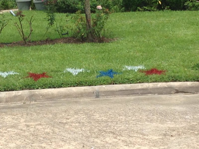 Close up of the painted red, white and blue stars
