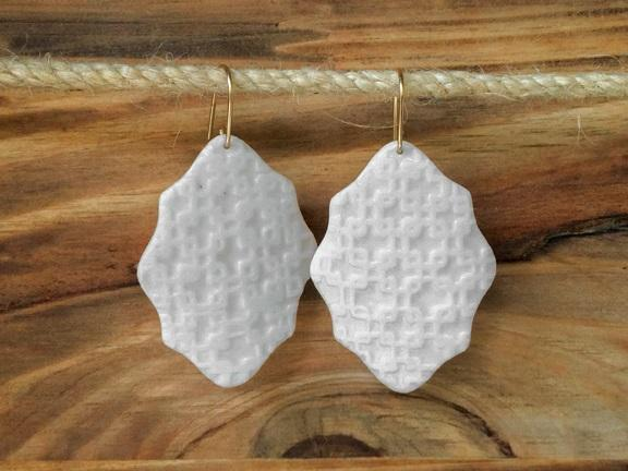 Textured porcelain earrings